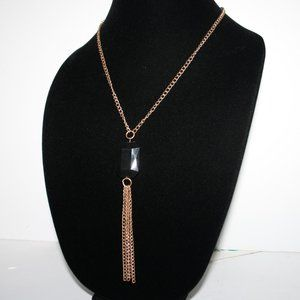 Beautiful gold necklace with black stone & tassel